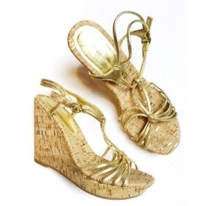 Banana Republic • Strappy Gold Wedges